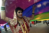 TOPSHOT An Indian supporter of the lesbian gay bisexual and transgender community takes part in a Pride March in Mumbai on February 6 2016 India's...