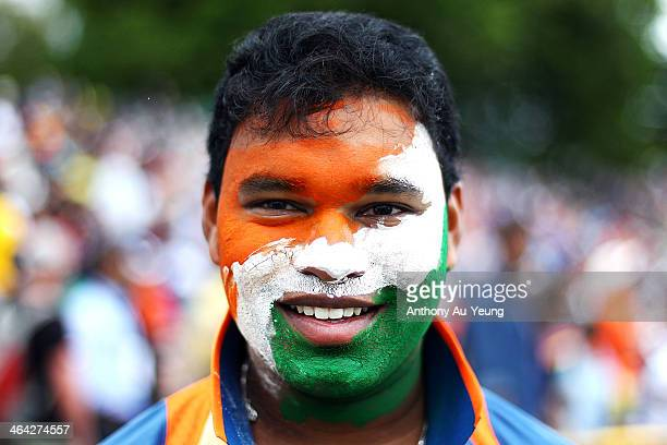 An Indian supporter shows his support during the One Day International match between New Zealand and India at Seddon Park on January 22 2014 in...