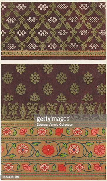 An Indian textile design with a floral pattern circa 1850 Manufactured at Ahmedabad for a woman's sari From 'The Treasury of Ornamental Art'