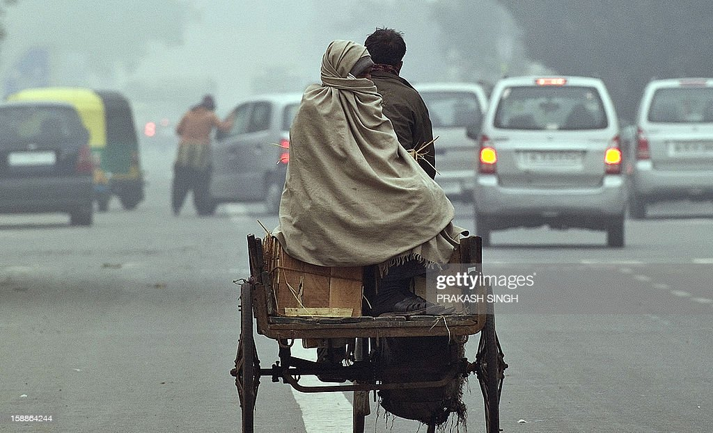 An Indian vegetable and fruit vendor rides a tricycle rickshaw with his supplies on a cold and foggy morning in New Delhi on January 2, 2013. AFP PHOTO/ Prakash SINGH