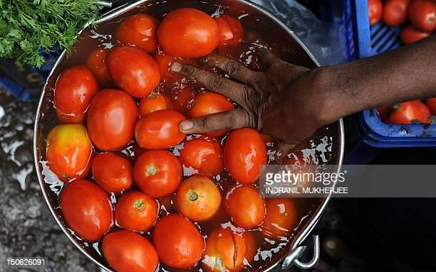 An Indian vegetable seller washes tomatoes at a street side market in Mumbai on June 14 2010 Indian inflation broke into double figures in May...