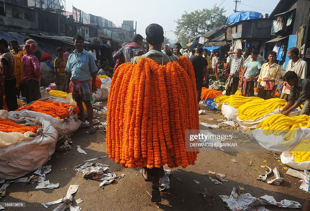 An Indian vendor carries flower garlands over his shoulder as he walks down a wholesale flower market in Kolkata on October 18, 2012. Demand for flowers are high for the forthcoming Hindu festival Durga Puja, with added price increases this season due to rising diesel costs in the distribution chain. The five-day period of worship of Hindu goddess Durga, who is attributed as the destroyer of evil, commences on October 20. AFP PHOTO/Dibyangshu SARKAR