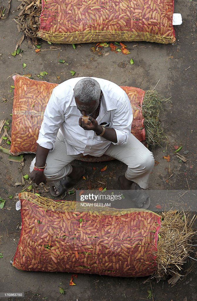 An Indian vendor sips tea as he sits on a sack of vegetables at a wholesale market in Hyderabad on June 12, 2013. The National Food Security Bill - 2011, considered to be the world's largest experiment in ensuring food security to the poor, has been a key project of Congress president Sonia Gandhi and finally seems to be getting off the ground at a whopping cost of 1.25 lakh crore Indian rupees. The Bill aims at meeting the food needs of 75% of rural households and 50% of urban households. AFP PHOTO / Noah SEELAM