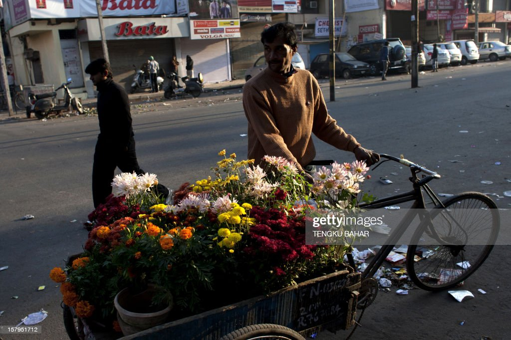 An Indian vendor, who sells seasonal flowering plants from door-to-door, parks his rickshaw at a retail market area in New Delhi on December 8, 2012. India has long been criticised as one Asia's most inefficient bureaucracies, with its byzantine regulations and widespread corruption seen as a major deterrent to foreign investment. AFP PHOTO/TENGKU BAHAR