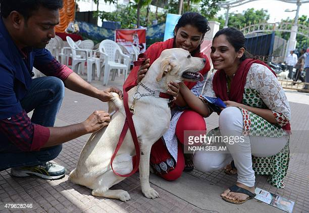 An Indian veterinary clinic employee gives a rabies vaccination to a pet dog at a free vaccination camp at the Government Super Speciality Veterinary...