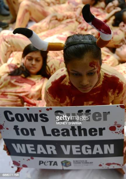 An Indian volunteer for animal rights group People for the Ethical Treatment of Animal holds a sign during a protest against leather production in...