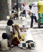 An Indian woman sits with her children and a stock of Jambul fruit for sale on a street of New Delhi 18 May 2006 The jambul fruit which can help...