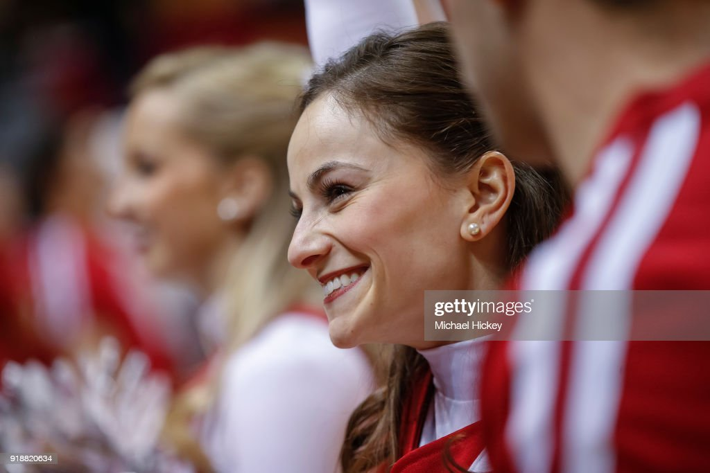 An Indiana Hoosiers cheerleader is seen during the game is seen during the game against the Purdue Boilermakers at Assembly Hall on January 28, 2018 in Bloomington, Indiana.