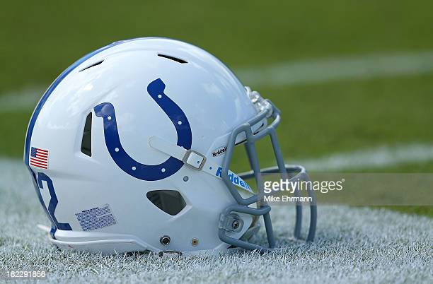 An Indianapolis Colts helmet sits on the sidelines during a game against the Jacksonville Jaguars at EverBank Field on September 29 2013 in...