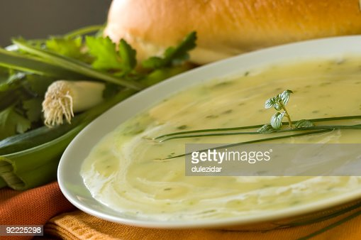 An Indian's favorite soup with a leave on top : Stock Photo