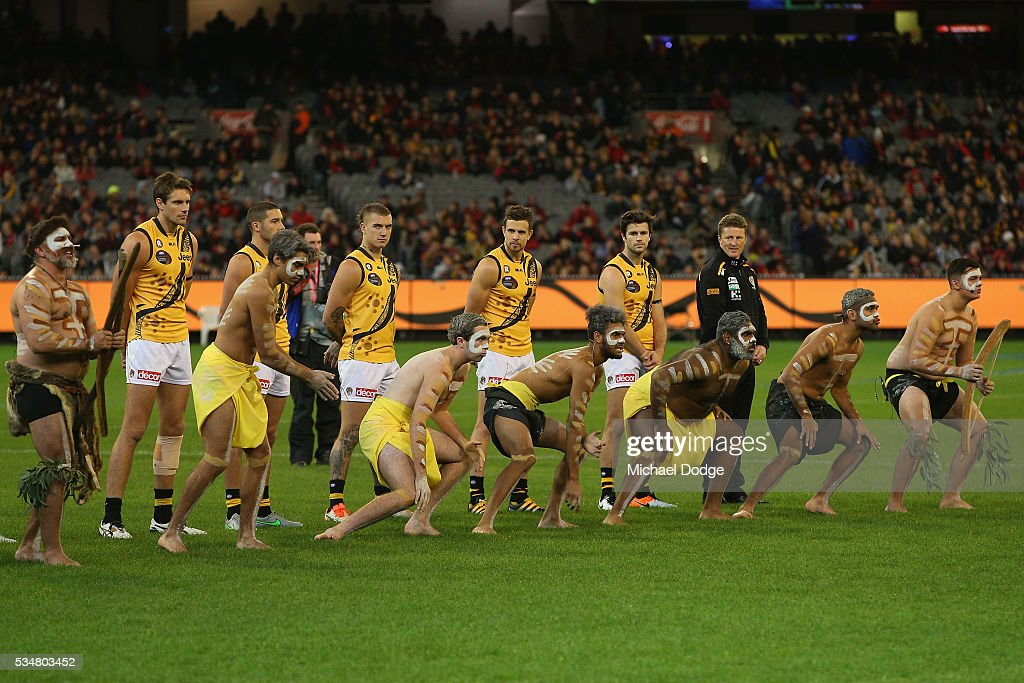 An Indigenous pre match war cry ceremony takes place during the round 10 AFL match between the Essendon Bombers and the Richmond Tigers at Melbourne Cricket Ground on May 28, 2016 in Melbourne, Australia.