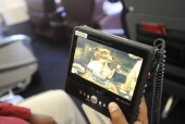 An individual DVD player sits aboard a Delta Air Lines Inc specially outfitted Airbus A319 used for NBA basketball teams at HartsfieldJackson Atlanta...