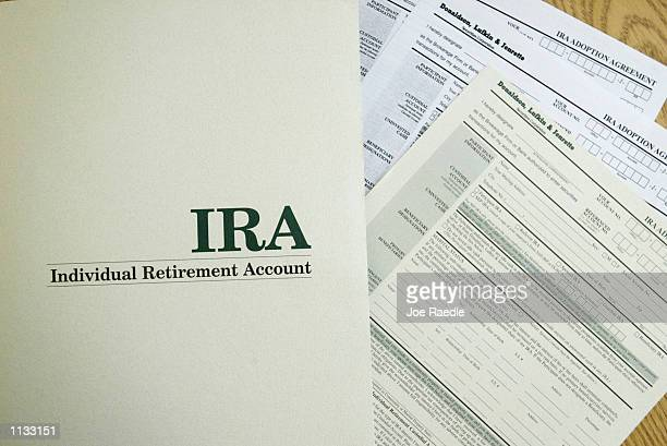 An Individual Retirement Account application form from the Enrichment Group is shown July 17 2002 in Miami Florida Many retirement accounts are under...