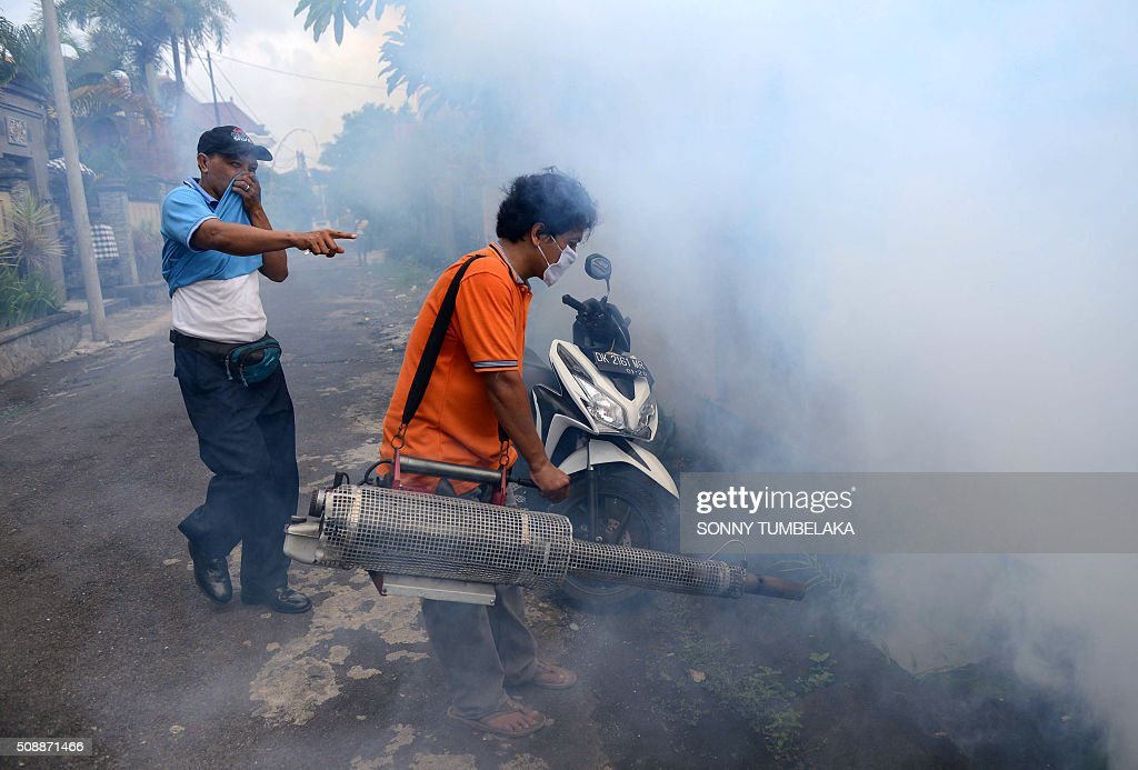 An Indonesian health worker fumigates an area to kill mosquitoes that may carry dengue fever in Jimbaran on the resort island of Bali on February 7, 2016. Dengue fever is spread by mosquitoes and causes joint pain, nausea, high fevers, and rashes and in severe cases, can result in death. AFP PHOTO/ SONNY TUMBELAKA / AFP / SONNY TUMBELAKA