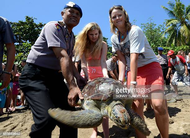 An Indonesian marine police officer and foreign tourists carry a green turtle ahead of its release at Kuta beach on Bali island on August 13 2014...
