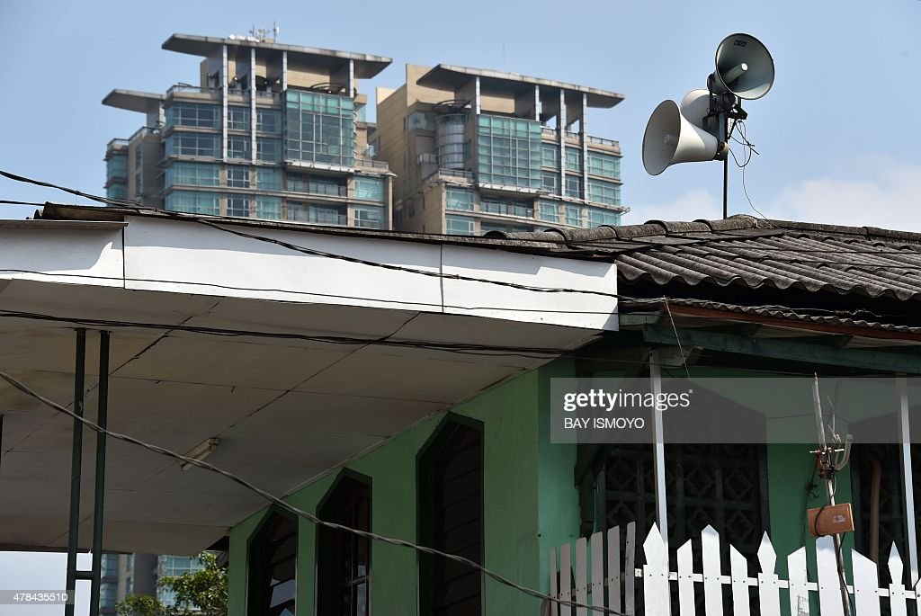 An Indonesian mosque equipped with loudspeakers used to call the faithful to prayer is pictured in Jakarta on June 25 2015 Indonesia has set up a new...