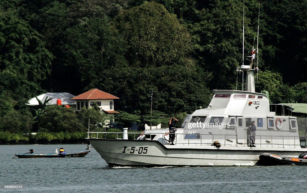 An Indonesian navy boat patrols the waters of Nusa Kambangan island home to a highsecurity prison where Indonesia conducts executions in Cilacap...
