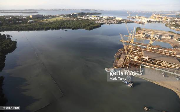 An industrial area stands along the edge of the polluted Guanabara Bay on July 27 2017 in Rio de Janeiro Brazil Nearly one year after Rio hosted the...