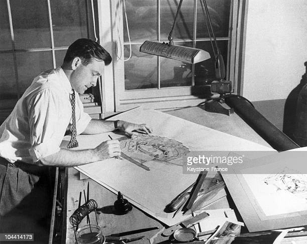 An industrial designer in drawing office around 1950's1960's
