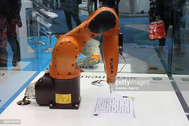 An industrial equipment is seen during Hannover Messe industrial fair 2015 on April 13 2015 in Hannover Germany Hannover Messe industrial fair 2015...