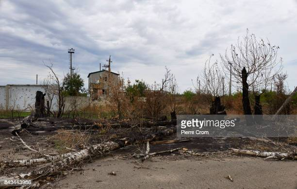 An industrial zone named the 'Prom Zone' located on the frontline is seen destroyed by artillery fire on September 06 2017 in Avdiivka Ukraine The...