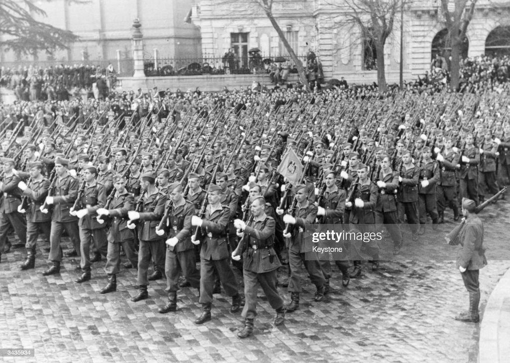 An infantry parade in Madrid, to celebrate the second anniversary of General Francisco Franco´s victory in the Spanish Civil War, April 1941.