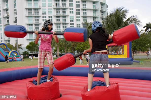 An inflatable carnival game at the Easter Eggstravaganza at Margaret Pace Park