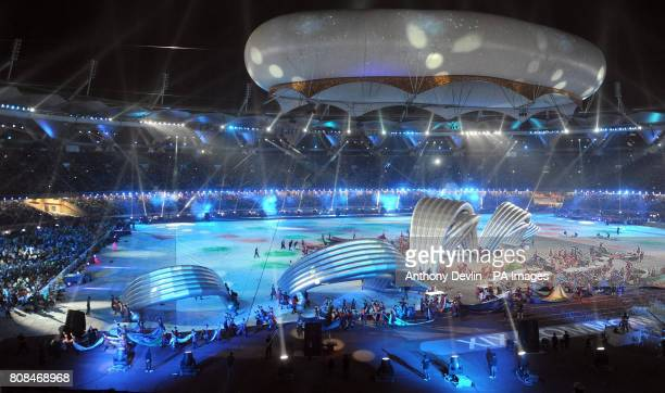 An inflatable model of the Loch Ness Monster created by Scottich performers during the 2010 Commonwealth Games Closing Ceremony at the Jawaharlal...