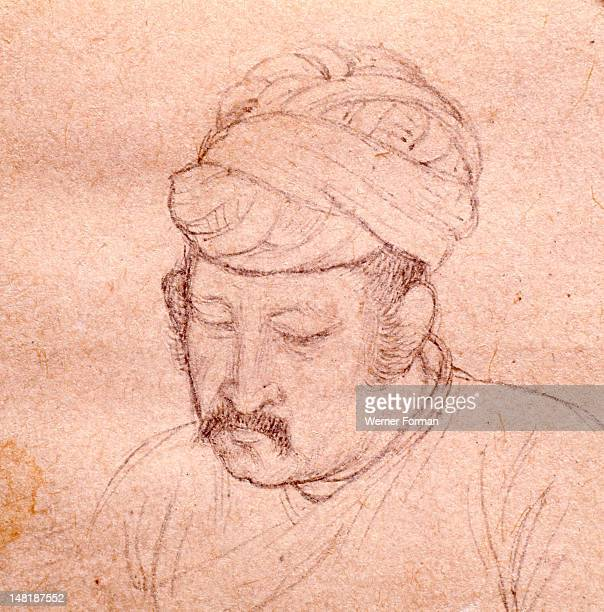An informal portrait sketch of Akbar the Great son of Humayun India Moghal circa 1605