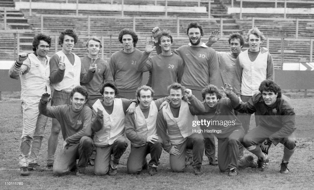 An informal team group of the Chelsea first-team taken after training at Stamford Bridge during December 1981 in London,England. Back row: L-R: Bobby Gould (Assistant Manager), Gary Chivers, John Bumstead, Colin Lee, Gary Locke, Micky Droy, Geoff Hurst (Manager), Phil Driver; Front Row L-R: Michael Fillery, Peter Rhoades-Brown, Clive Walker, Dennis Rofe, Ian Britton, Petar Borota.