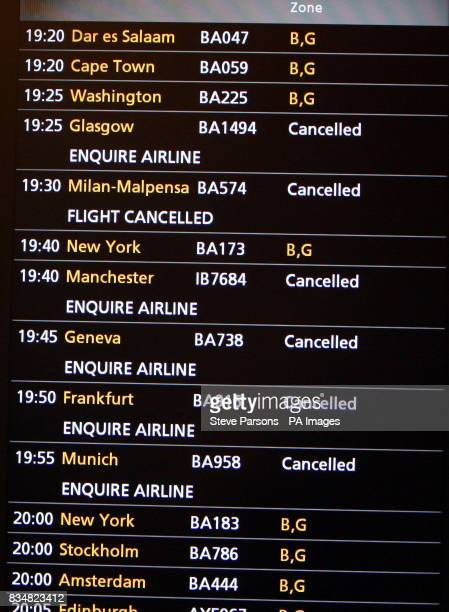 An information board in Terminal 5 of Heathrow Airport London showing cancelled flights after a glitch in the air traffic control system caused...