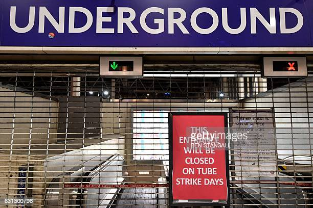 An information board is seen in Waterloo station in central London on January 9 2017 during a 24hour tube strike A strike on the London Underground...