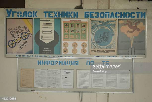 An information panel shows safety precautions for employees inside the former Chernobyl nuclear power plant on September 29 2015 near Chornobyl...
