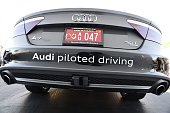An infra red sensor made by Valeo is seen on the back of the Audi autonomous A7 concept car January 6 2015 at the Consumer Electronics Show in Las...