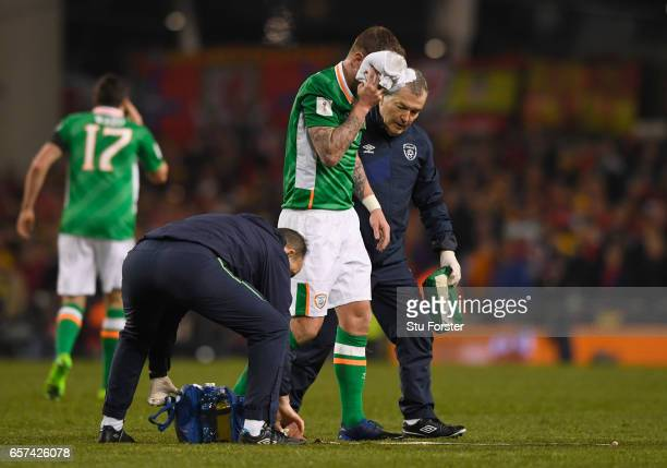 An injrued Glenn Whelan of the Republic of Ireland is given assistance during the FIFA 2018 World Cup Qualifier between Republic of Ireland and Wales...