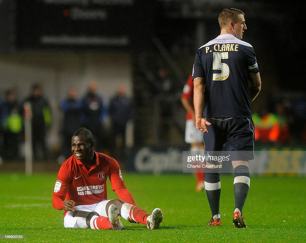 An injured Emmanuel Frimpong of Charlton receives treatment during the npower Championship match between Charlton Athletic and Huddersfield Town at The Valley on November 24, 2012 in London, England.