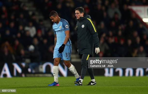An injured Gabriel Jesus of Manchester City leaves the pitch during the Premier League match between AFC Bournemouth and Manchester City at Vitality...