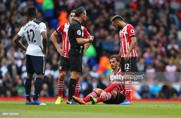 An injured Manolo Gabbiadini of Southampton sits on the pitch during the Premier League match between Tottenham Hotspur and Southampton at White Hart...