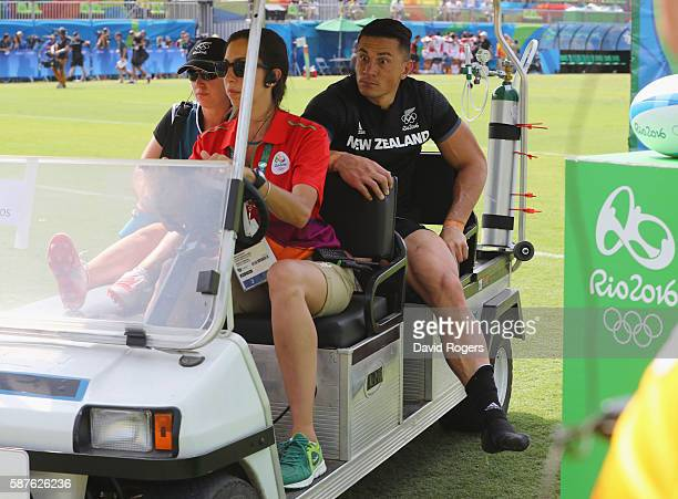 An injured Sonny Bill Williams of New Zealand is stretchered off during the Men's Rugby Sevens Pool C match between New Zealand and Japan on Day 4 of...