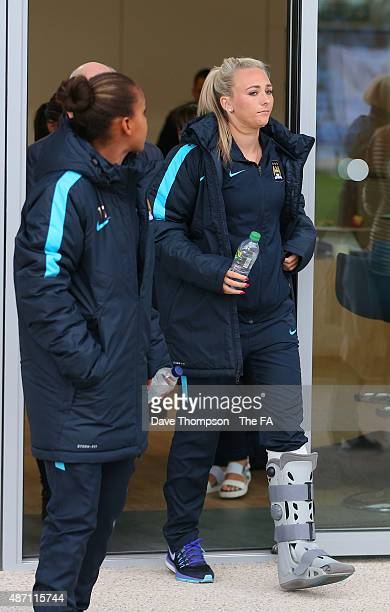 An injured Toni Duggan of Manchester City looks on prior to the Women's Super League match between Manchester City and Sunderland at the Manchester...