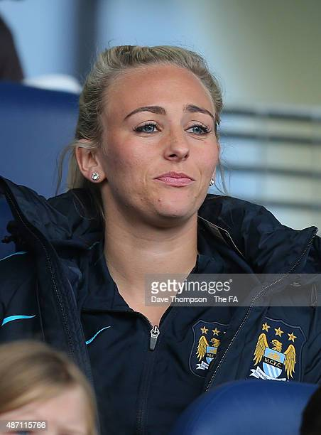 An injured Toni Duggan of Manchester City watches from the stands during the Women's Super League match between Manchester City and Sunderland at the...