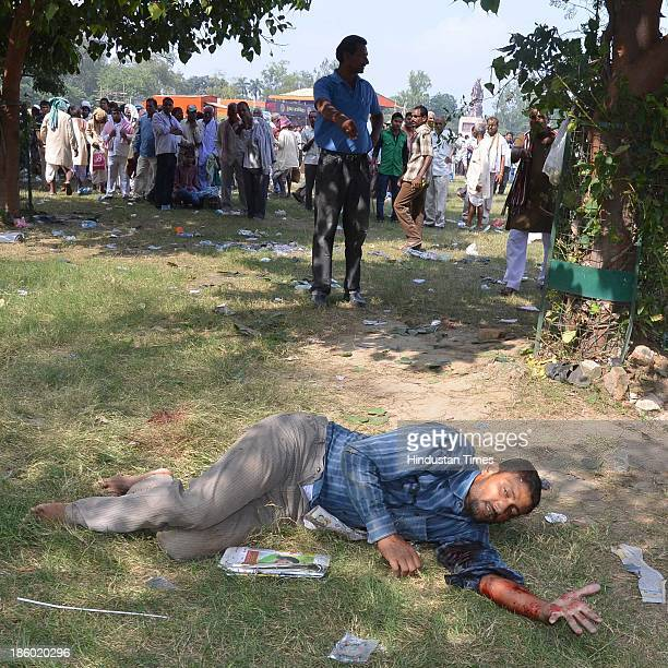 An injured victim after six serial bomb blasts took place at the venue of Narendra Modi's Hunkar rally near Gandhi Maidan on October 27 2013 in Patna...