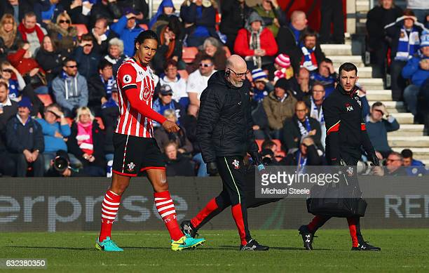An injured Virgil van Dijk of Southampton leaves the ptich during the Premier League match between Southampton and Leicester City at St Mary's...