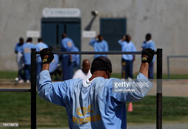 An inmate at the Mule Creek State Prison exercises through pullups in an outside yard August 28 2007 in Ione California A panel of three federal...