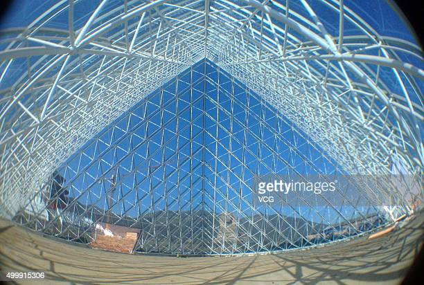 An inner view of a replica of the Louvre Pyramid in a new studio park on December 3 2015 in Shijiazhuang Hebei Province of China A complex building...