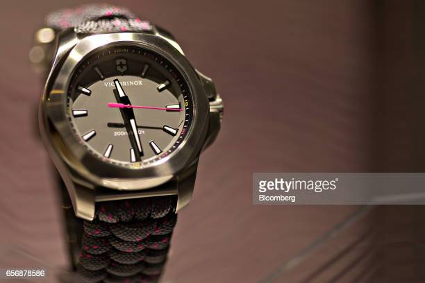An INOX model luxury wristwatch produced by Victorinox AG stands on display during the 2017 Baselworld luxury watch and jewelery fair in Basel...