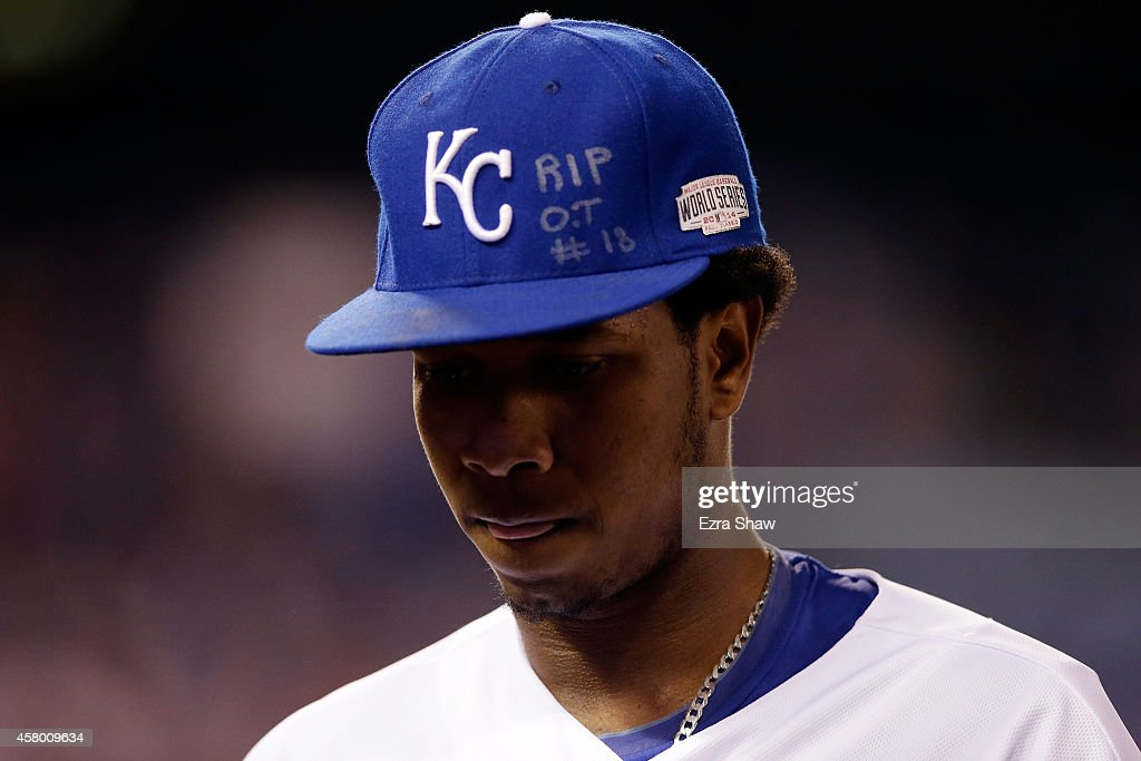 An inscription honoring the late Oscar Taveras is seen on the hat of <a gi-track='captionPersonalityLinkClicked' href=/galleries/search?phrase=Yordano+Ventura&family=editorial&specificpeople=9527243 ng-click='$event.stopPropagation()'>Yordano Ventura</a> #30 of the Kansas City Royals during Game Six of the 2014 World Series at Kauffman Stadium on October 28, 2014 in Kansas City, Missouri.