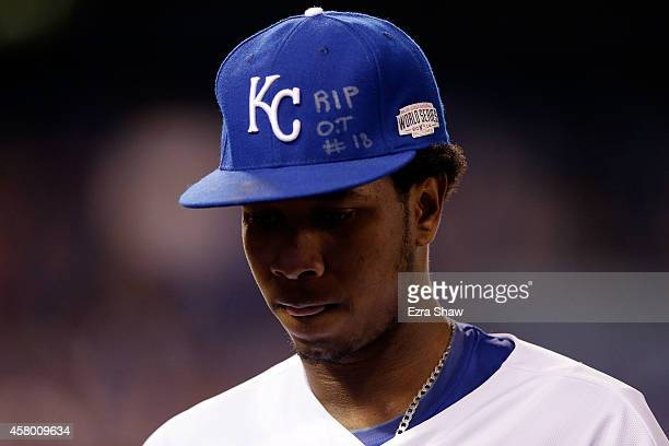 An inscription honoring the late Oscar Taveras is seen on the hat of Yordano Ventura of the Kansas City Royals during Game Six of the 2014 World...