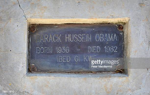An inscription on the grave of US Senator Barack Obama's father bears the Swahili phrase 'May you rest in peace' on January 12 2007 in Kogelo western...