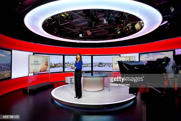 An inside look at the worldwide headquarters of the BBC news at Broadcasting House News presenter Riz Lateef Photographed for Event magazine on June...